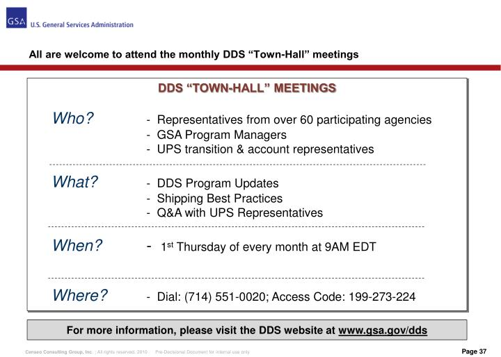 "All are welcome to attend the monthly DDS ""Town-Hall"" meetings"