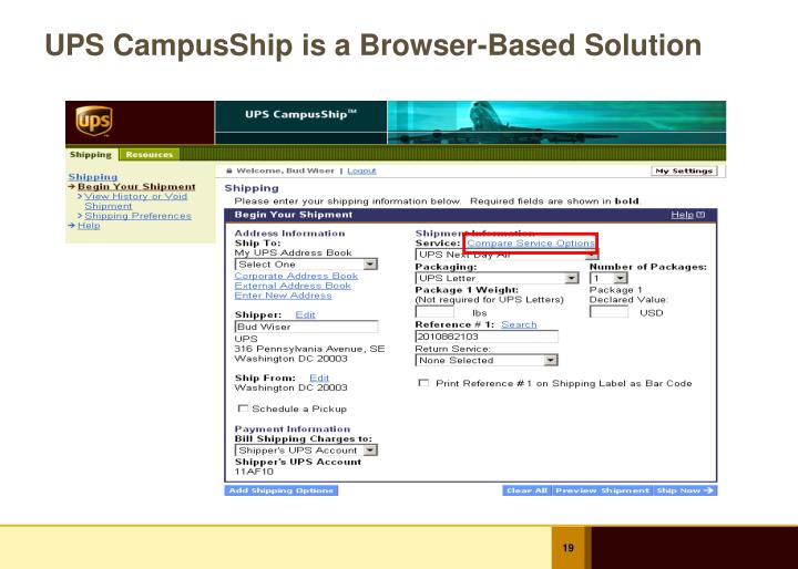 UPS CampusShip is a Browser-Based Solution