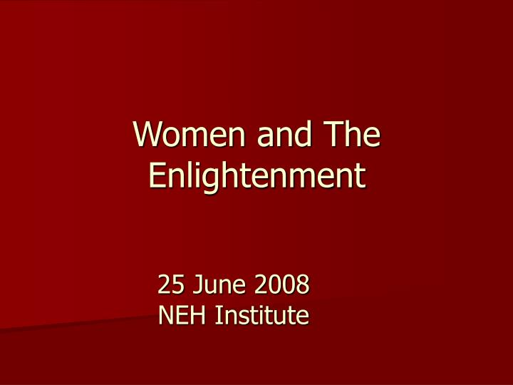 Women and the enlightenment