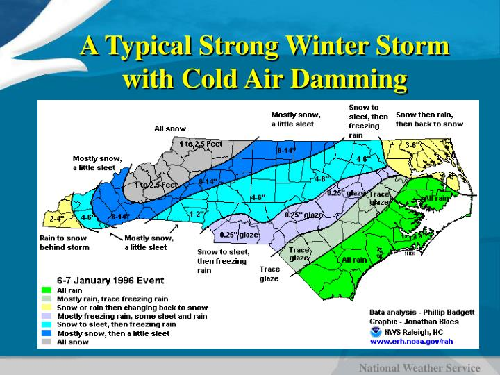 A Typical Strong Winter Storm with Cold Air Damming