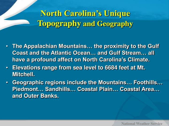 North Carolina's Unique Topography