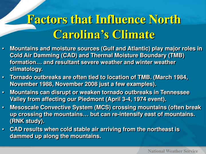 Factors that Influence North Carolina's Climate