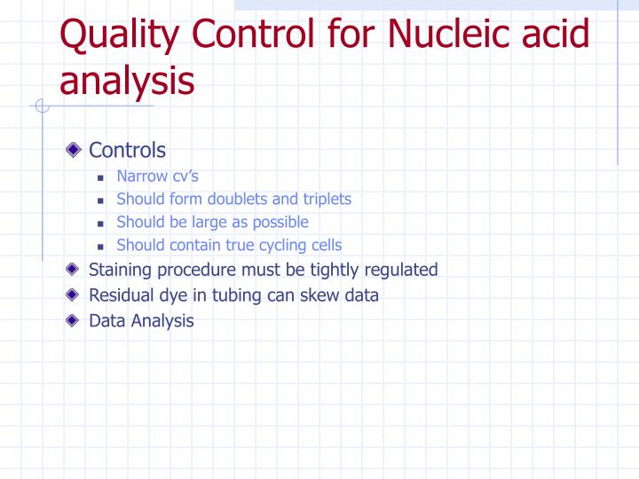 Quality Control for Nucleic acid analysis