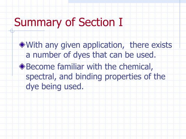 Summary of Section I