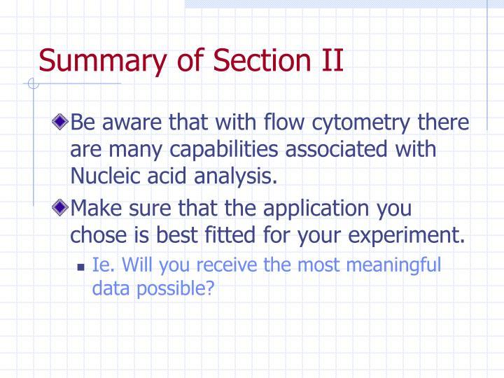 Summary of Section II