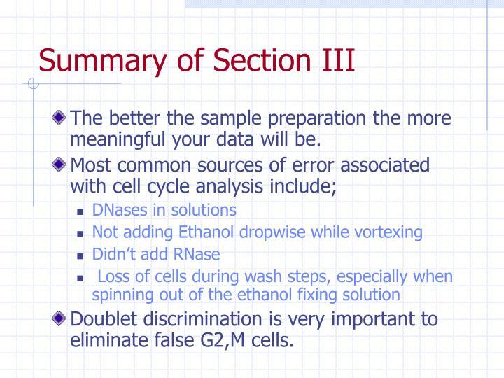 Summary of Section III