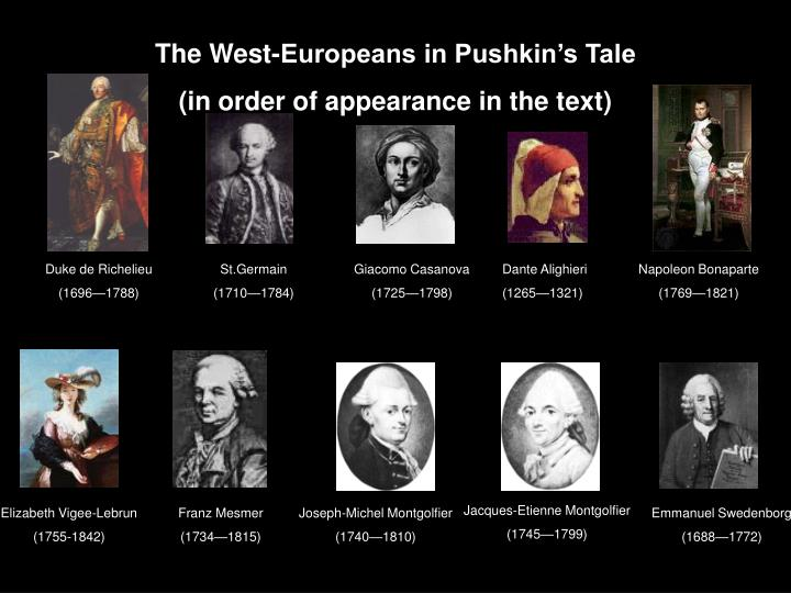 The West-Europeans in Pushkin's Tale