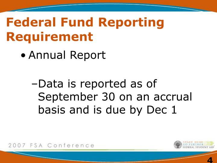 Federal Fund Reporting