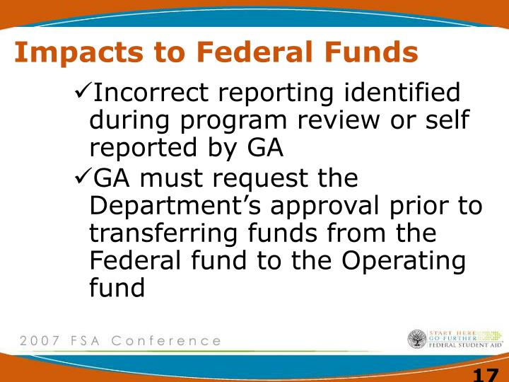 Impacts to Federal Funds