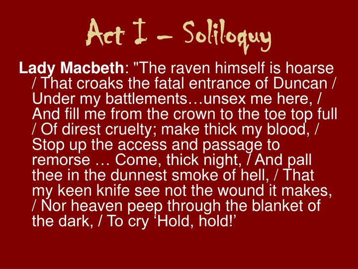 Act I – Soliloquy
