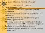 the management of sink activities soil carbon
