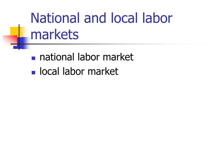 National and local labor markets1