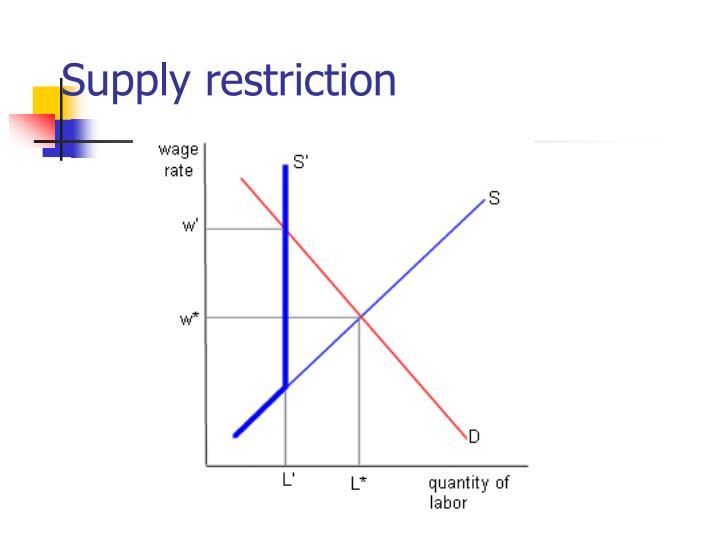 Supply restriction