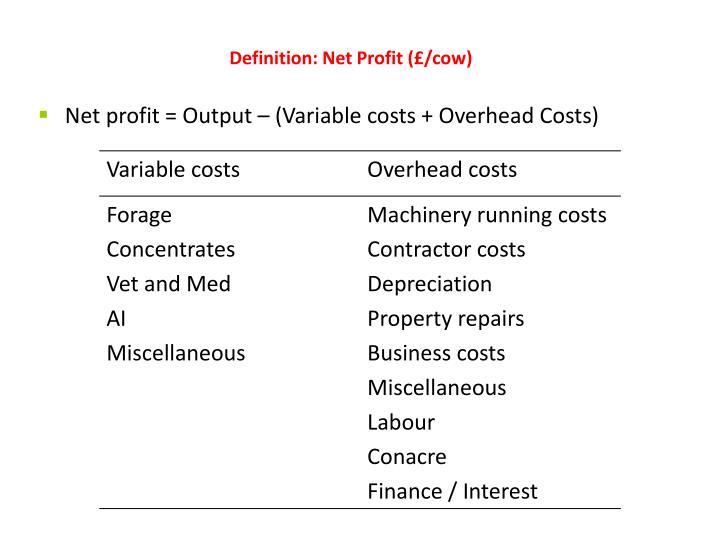 Definition: Net Profit (£/cow)