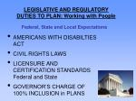 legislative and regulatory duties to plan working with people