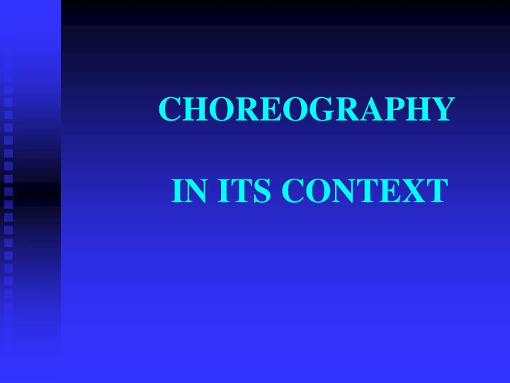 choreography in its context n.