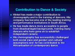 contribution to dance society