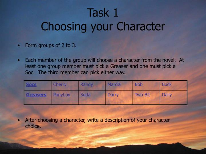 Task 1 choosing your character