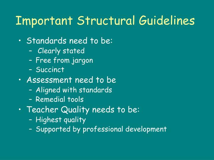 Important Structural Guidelines