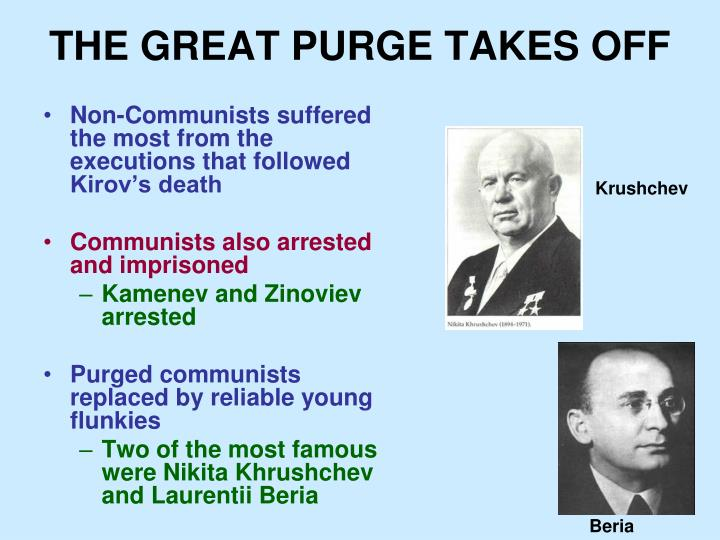 THE GREAT PURGE TAKES OFF