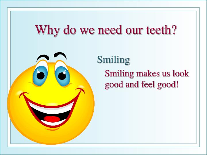 Why do we need our teeth?
