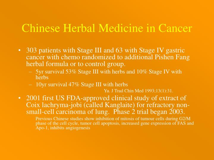 Chinese Herbal Medicine in Cancer