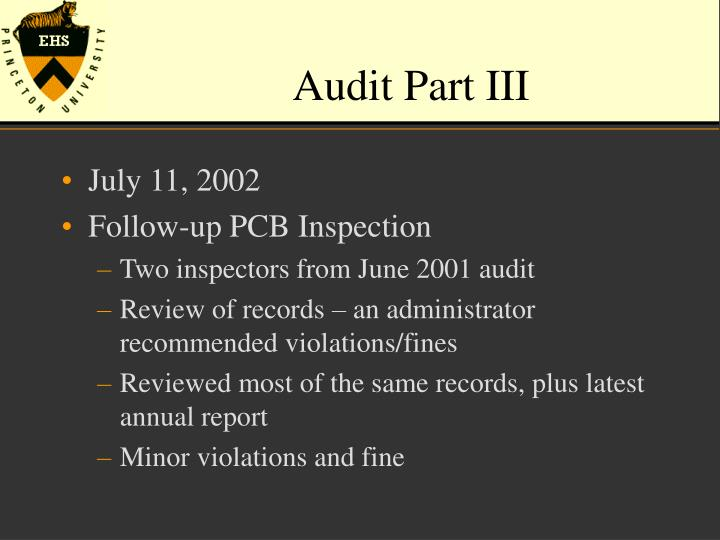 Audit Part III