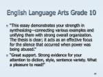 english language arts grade 10