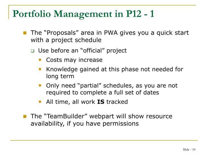 Portfolio Management in P12 - 1