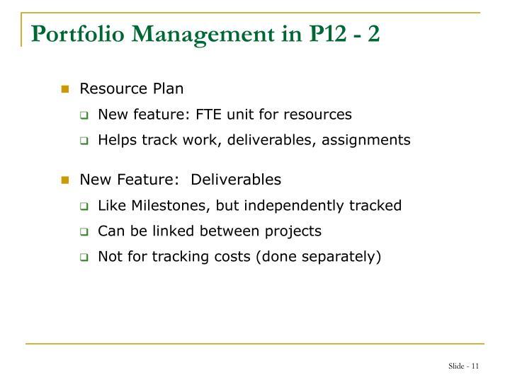 Portfolio Management in P12 - 2