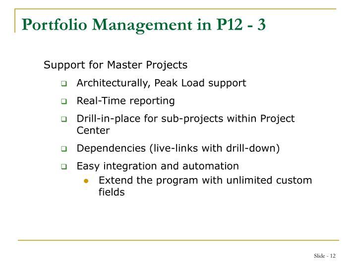 Portfolio Management in P12 - 3
