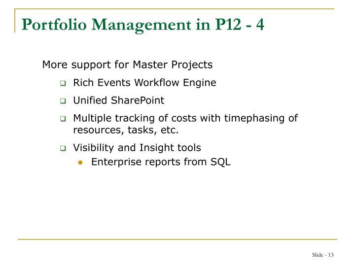 Portfolio Management in P12 - 4
