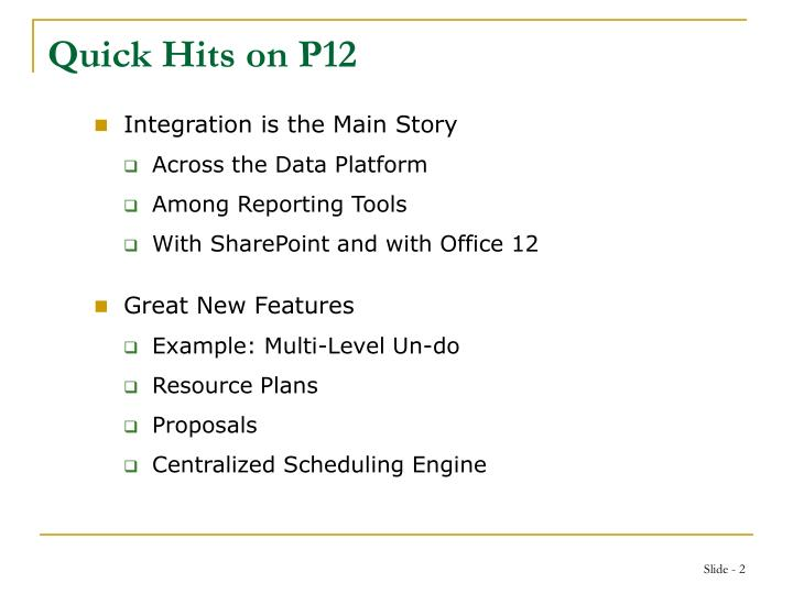 Quick hits on p12