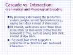 cascade vs interaction grammatical and phonological encoding
