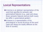 lexical representations
