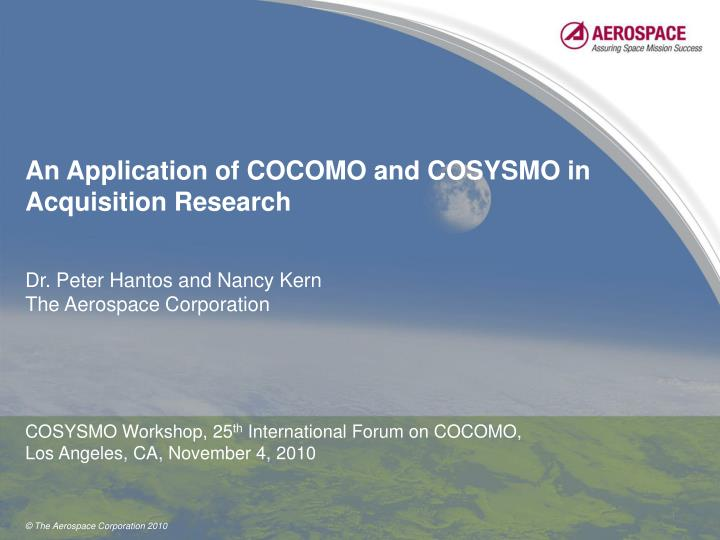 an application of cocomo and cosysmo in acquisition research n.