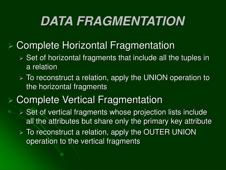 DATA FRAGMENTATION