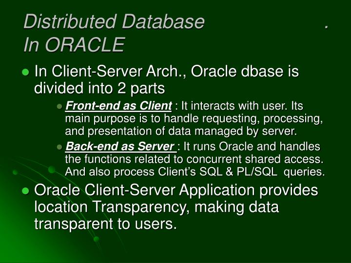 Distributed Database                      .