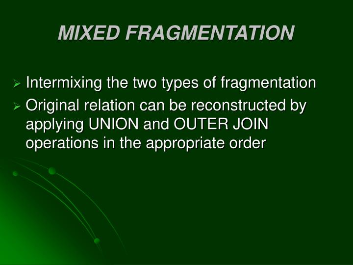 MIXED FRAGMENTATION