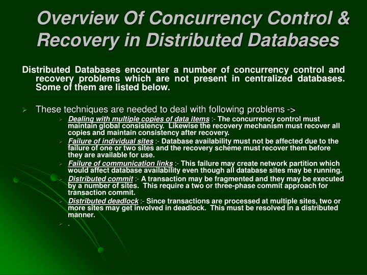 Overview Of Concurrency Control & Recovery in Distributed Databases
