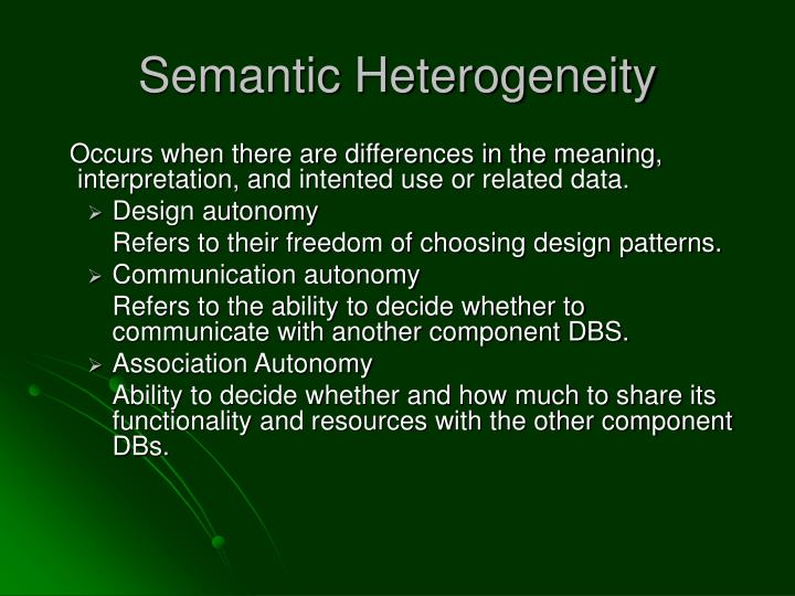 Semantic Heterogeneity