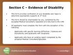 section c evidence of disability