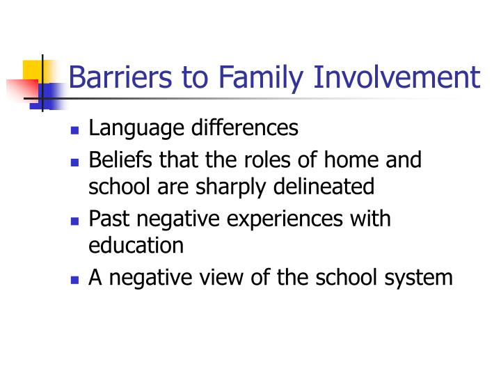 Barriers to Family Involvement