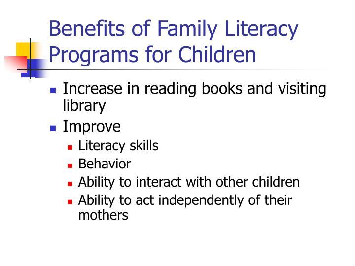 Benefits of Family Literacy Programs for Children