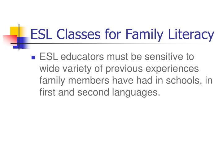 ESL Classes for Family Literacy