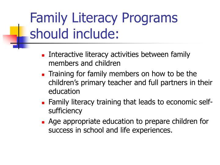Family Literacy Programs