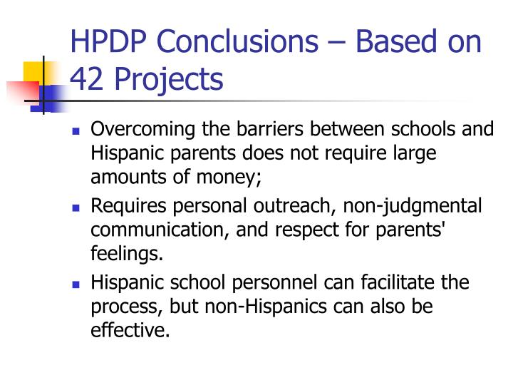 HPDP Conclusions – Based on 42 Projects