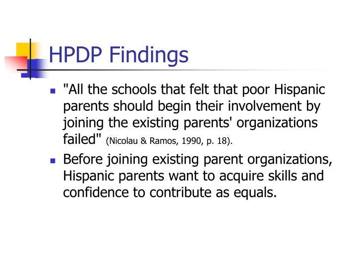 HPDP Findings