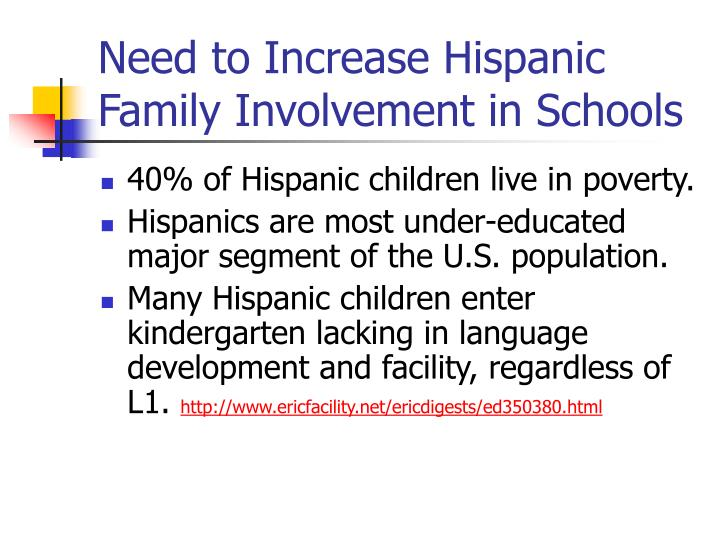 Need to Increase Hispanic Family Involvement in Schools