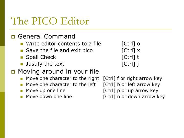 The PICO Editor